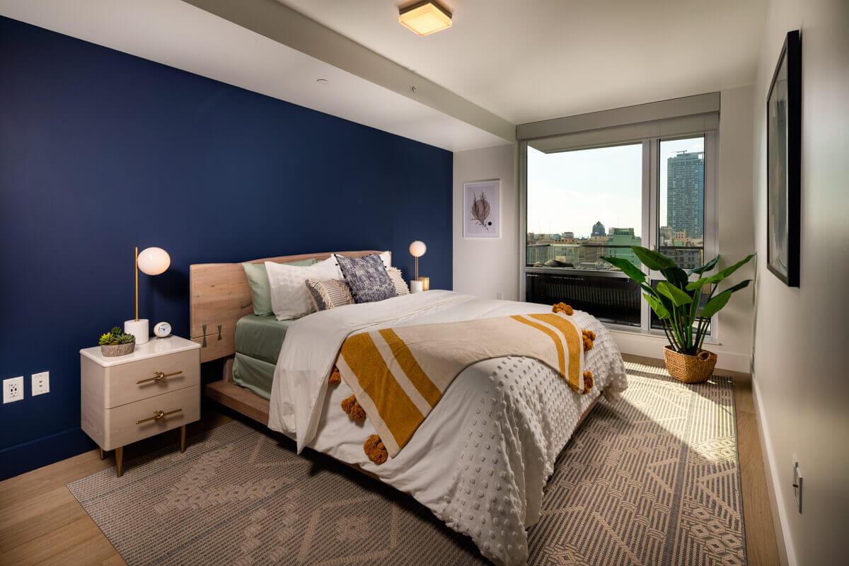Luxury Three Bedroom Apartments in DTLA - Park Fifth Tower Bedroom with Large, Floor-to-Ceiling Window and Oak Wood Flooring