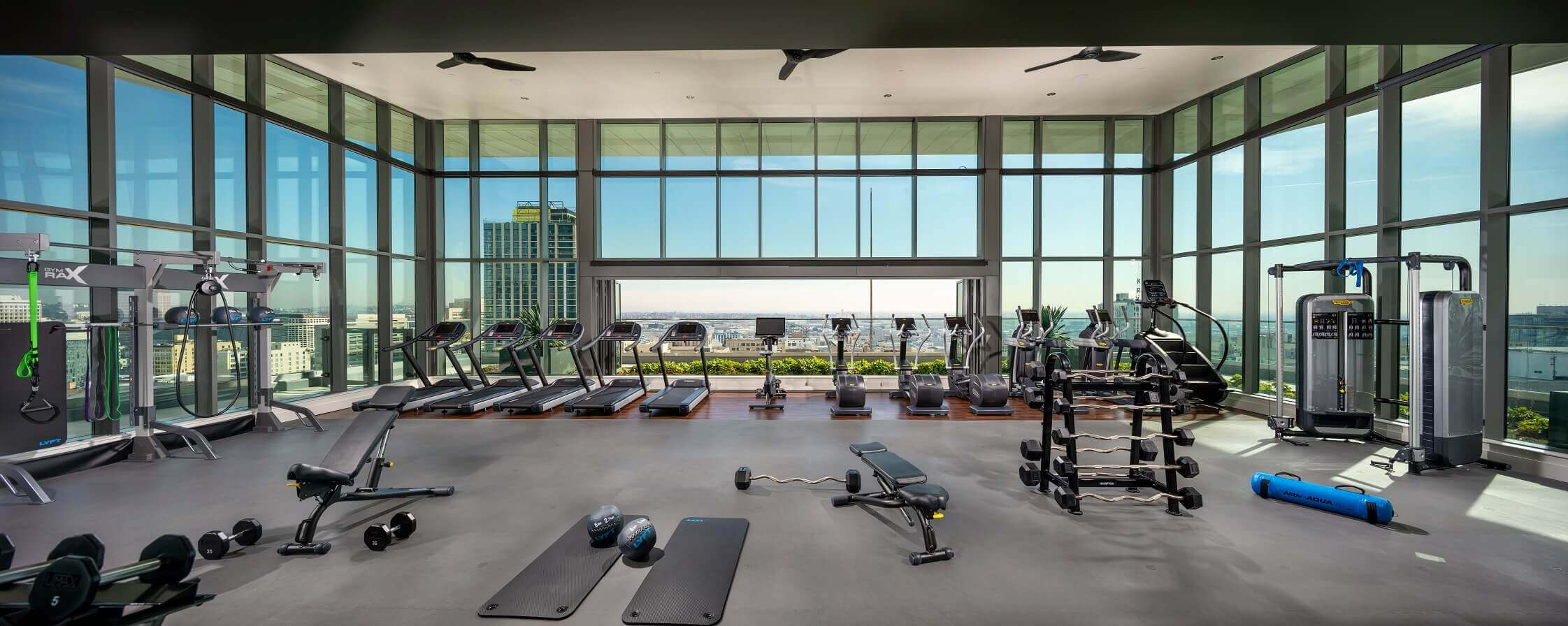 DTLA Luxury Apartments - Park Fifth Tower Expansive Fitness Center with Floor-to-Ceiling Windows and Updated Cardio and Weight Training Equipment